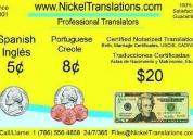 20 dlls traducciones certificadas ingles español