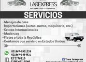 Servicio de mudanzas hacia cualquier estado de mex