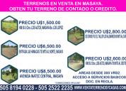 Obten tu terreno de contado u credito en masaya